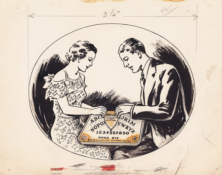 1936 William Fuld Couple playing ouija original artwork