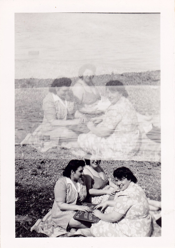 1940s Ladies Ouija picnic double exposure